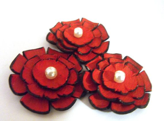 Jewelry supplies leather flowers 3 pcs by HMCreativeSupplies, $9.00