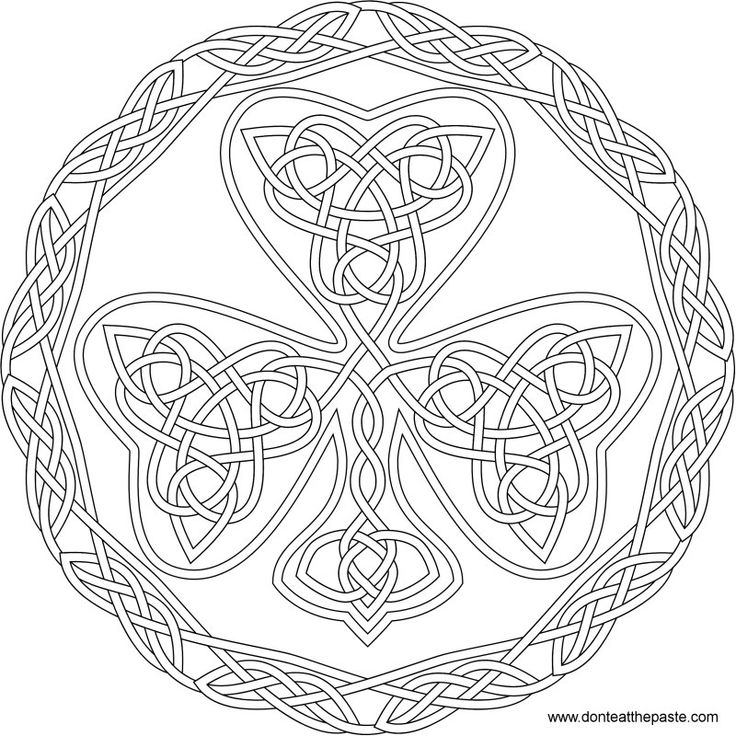 Shamrock Celtic Knot To Color In Jpg And Transparent PNG Format StPatricksDay Knotwork