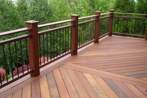 Wrought iron deck railing google search garden and for Garden decking banister