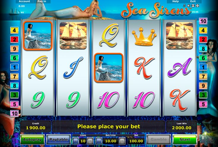 Sea Sirens ist ein Märchen Spielautomat von Novomatic, der ganz einfach und toll ist. Das Spiel auf diesem Slot machen einfach Spass und es kann man auch frei testen.