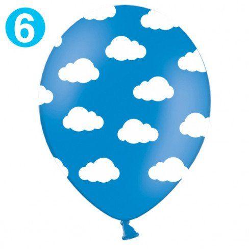 Palloncini decorativi azzurri con nuvolette - cm 30 (6pz) - Baby Party - Party e allestimenti