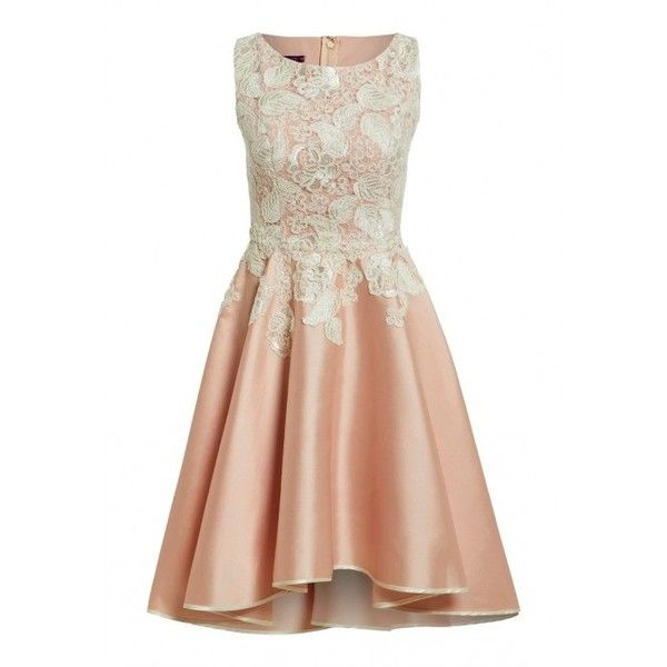 Nataliya Couture Chloe Dress in Blush and Cream ($515) ❤ liked on Polyvore featuring dresses, lace skater skirt, cream prom dresses, floral dress, couture dresses and prom dresses