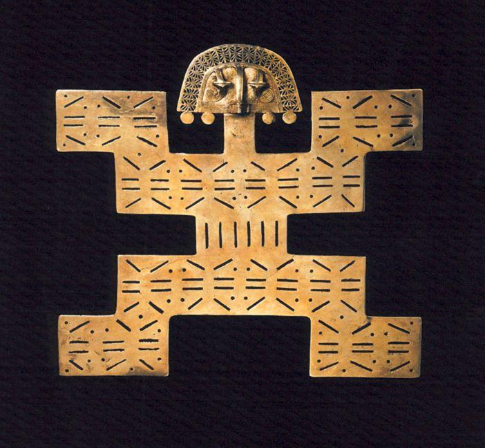 PRE-COLUMBIAN Pectoral, Tolima culture, Colombia, AD 100-500 . Gold. Museo del Oro, Bogotá. Pectoral Tolima en or.