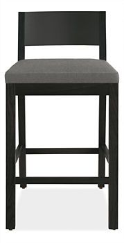 Afton Counter Stool in Maple with Ebony Stain with Cambridge Grey Seat -