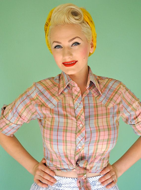 Rockabilly Vintage Western Pinup Button Up Blouse