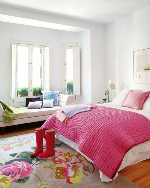 river master bedroom ideaBays Windows,  Comforters, Windows Seats, Girls Room, Bedrooms Colours,  Puff, Colors Bedrooms Cozy, Pink Bedrooms, Bright Bedrooms