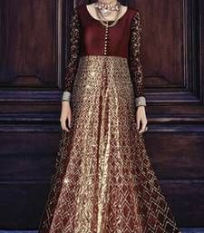 Buy Maroon net embroidered semi stitched salwar with dupatta party-wear-salwar-kameez online