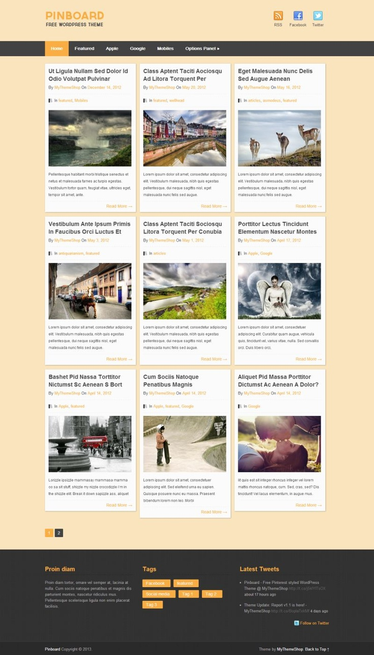 "Check ""Pinboard"" - #Pinterest-styled #WordPress theme 100% free. Fully #responsive."