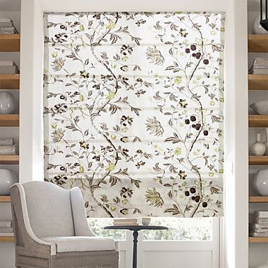 Chinese+Floral+Paintings+Jacquard+Roman+Shade+–+AUD+$+71.81