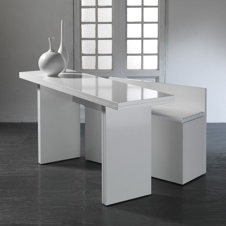 Console extensible qui se transforme en table avec son for Meuble qui se transforme