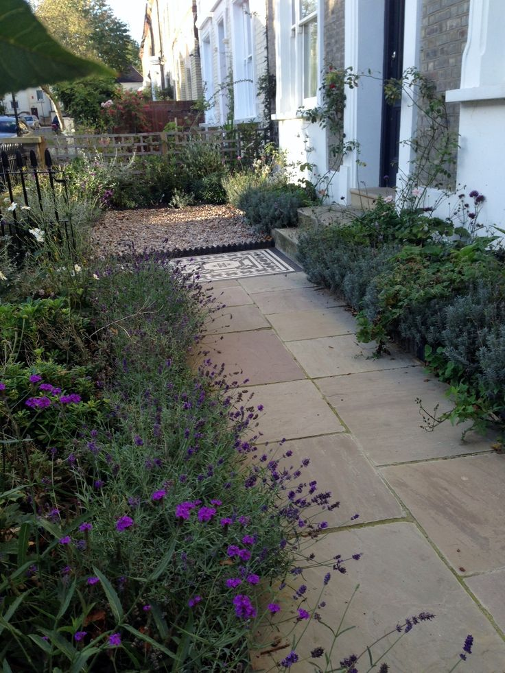 Islington Victorian mosaic tile path York stone sandstone paving wrought iron rails and gate London (27)