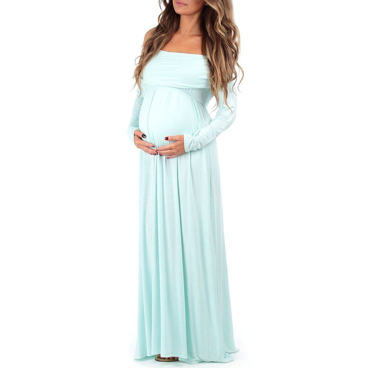 Mom to Be Baby Bump Pregnancy Portrait Dress / Maternity Photo Prop Closed Front Aqua Blue Baby Shower Gift #maternityphotodresses #maternityphotoideas