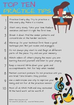 A great sheet with the top ten practice tips. Fo any age or level. Great colour version.