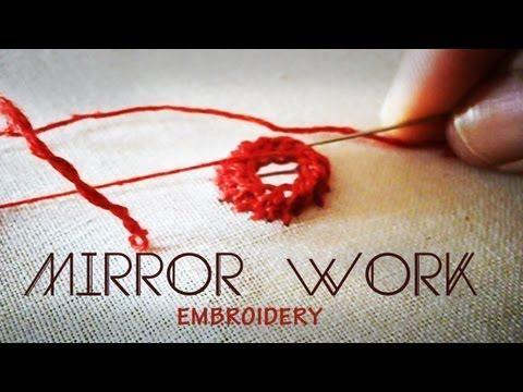 Hand embroidery : shisha work or mirror work using cretan stitch - YouTube