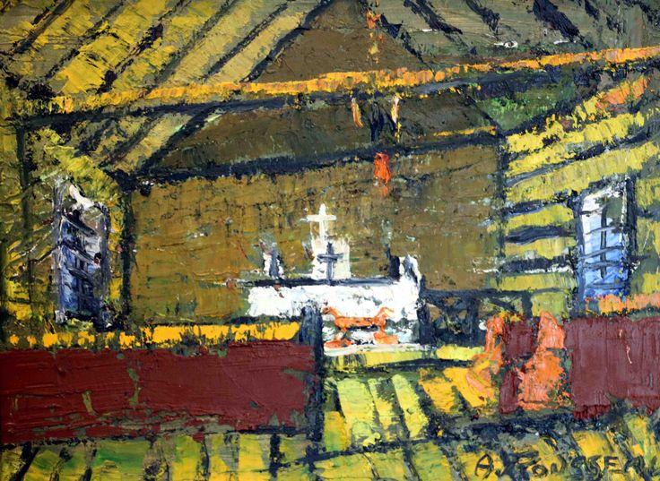 """Albert Rousseau. Èqlise du nord-ouest. Oil on Board. 10.24x13.78""""."""