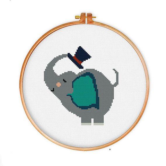 39 best cross stitch for nursery images on pinterest billy joel cute elephant cross stitch pattern modern cross by thuhadesign fandeluxe Gallery