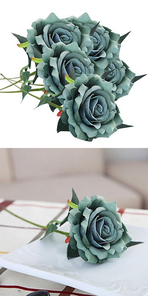Clearance! Paymenow 5 Pieces Artificial Silk Fake Flowers Rose ...