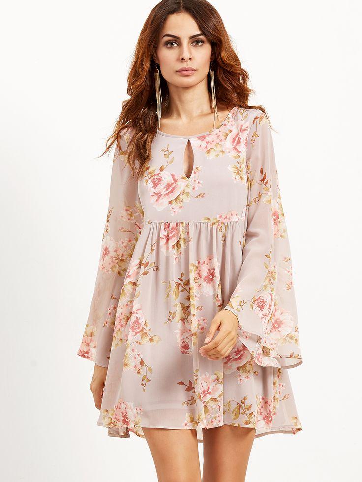 Shop Pink Rose Print Keyhole Bell Sleeve Babydoll Dress online. SheIn offers…