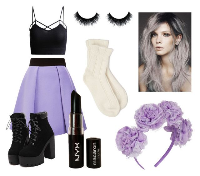 """Pastel Goth"" by brookemerryman ❤ liked on Polyvore featuring FAUSTO PUGLISI, NYX and Falke"