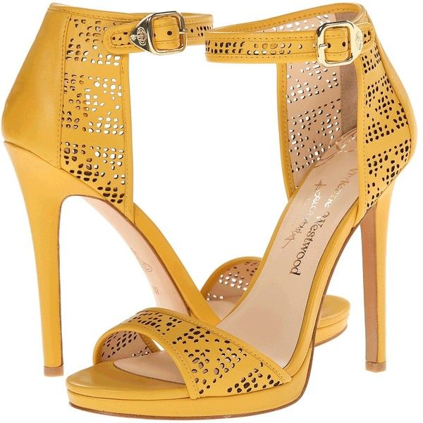 Vivienne Westwood Charlize Women's Shoes, Yellow ($195) ❤ liked on Polyvore featuring shoes, sandals, yellow, leather sandals, ankle tie sandals, leather shoes, ankle strap shoes and high heels stilettos