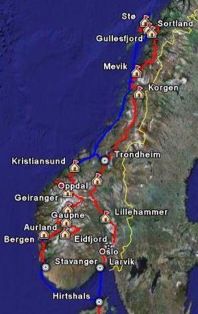 Kaart met reisroute