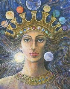 Inanna -  Dea sumera dell'antica civiltà mesopotamica. Dea dell'amore, della fecondità e della bellezza, del grano, della guerra, e dell'amore sessuale.  Inanna offre un'immagine di sè dalle tante sfaccettature simboliche che suggeriscono l'idea di un femminile completo, che va al di là della funzione materna. Lei è contemporaneamente regina della terra e del cielo, della materia e dello spirito, dell'oscurità e della luce, dell'abbondanza della terra e guida celeste.