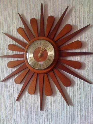 60S 70S VINTAGE LARGE SUNBURST STARBURST TEAK WALL CLOCK Retro danish swiss   eBay