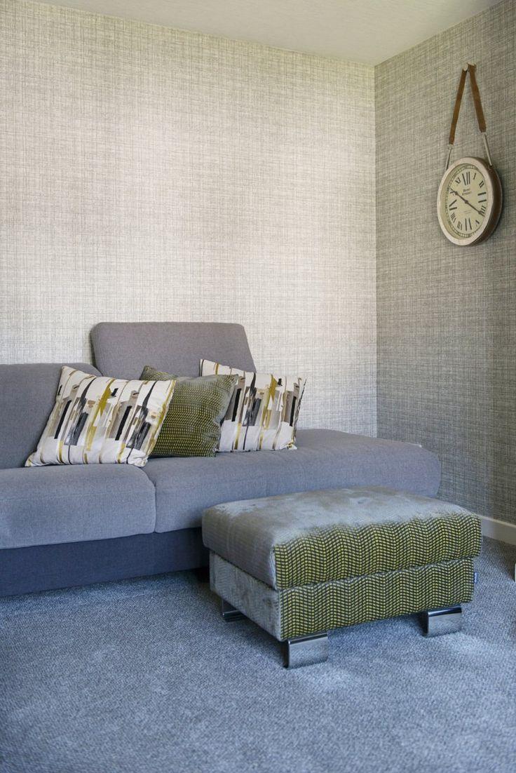 """Khadi"" wallpaper. Wabi Sabi by Scion.  Cushions in ""Zeal"" - Momentum 4 fabrics by Harlequin."