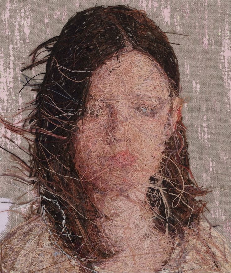 Thread Paintings: Densely Embroidered Portraits by Cayce Zavaglia.Back of it