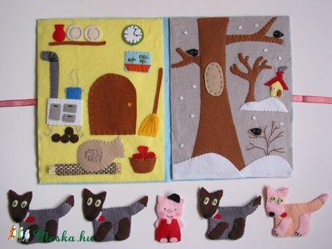 A kismalac és a farkasok- ujjbáb készlet és mini bábszínház (azonnal vihető!), Baba-mama-gyerek, Játék, Báb, Készségfejlesztő játék, Meska