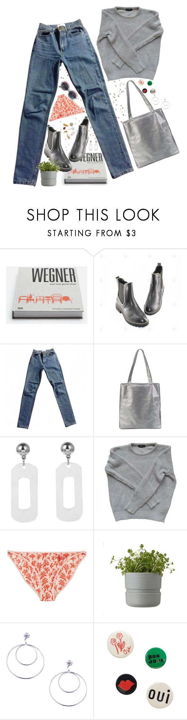 """""""#9G Metallic"""" by lsaroskyl ❤ liked on Polyvore featuring American Apparel, Guide London, Rig-Tig by Stelton, Clare V. and Courrèges"""