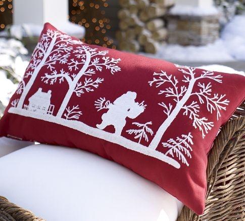Embroidered Santa Outdoor Pillow   Pottery Barn scandinavian looking