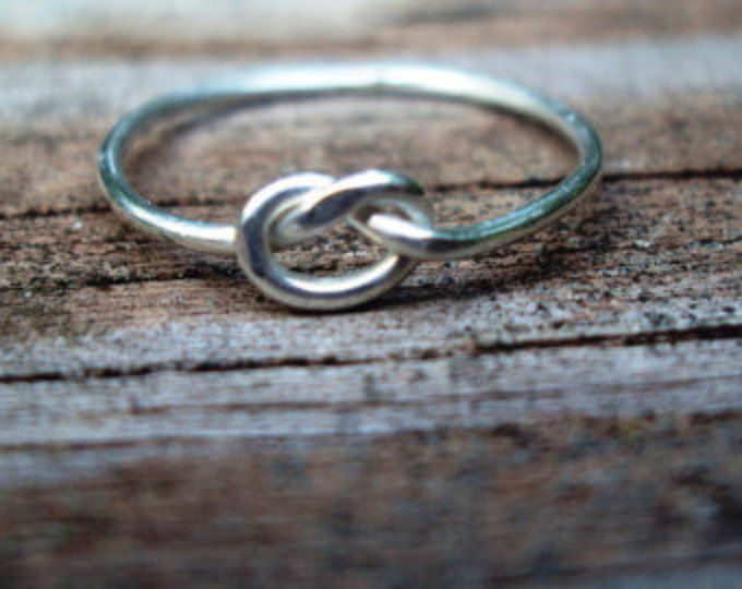 Silver Plated Infinity Knot Ring Lovers Knot Wire Ring