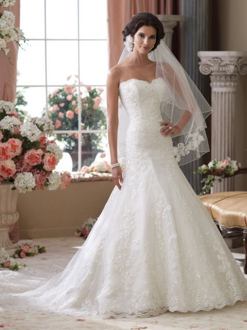 David Tutera - Strapless lace wedding dress with tulle and organza, trumpet dress with scalloped sweetheart neckline and back bodice with eyelash trim, dropped waistline, three-dimensional flower lace