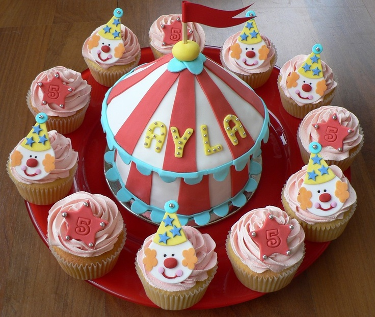 Big top and circus cupcakes
