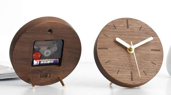 Handmade Black Walnut Wood Round Silent Desk Clock Wood Clock