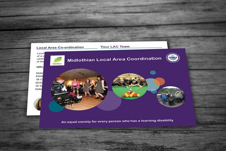 MIDLOTHIAN LAC – Postcard design for ENABLE Scotland's Midlothian LAC Service (Local Area Co-ordination) presented as a double-sided format. #graphicdesign #postcard #services #Midlothian