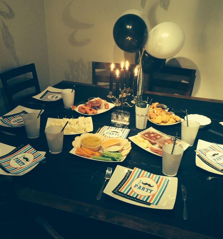 Happy Birthday Husband | Black & White Moustache Dinner |