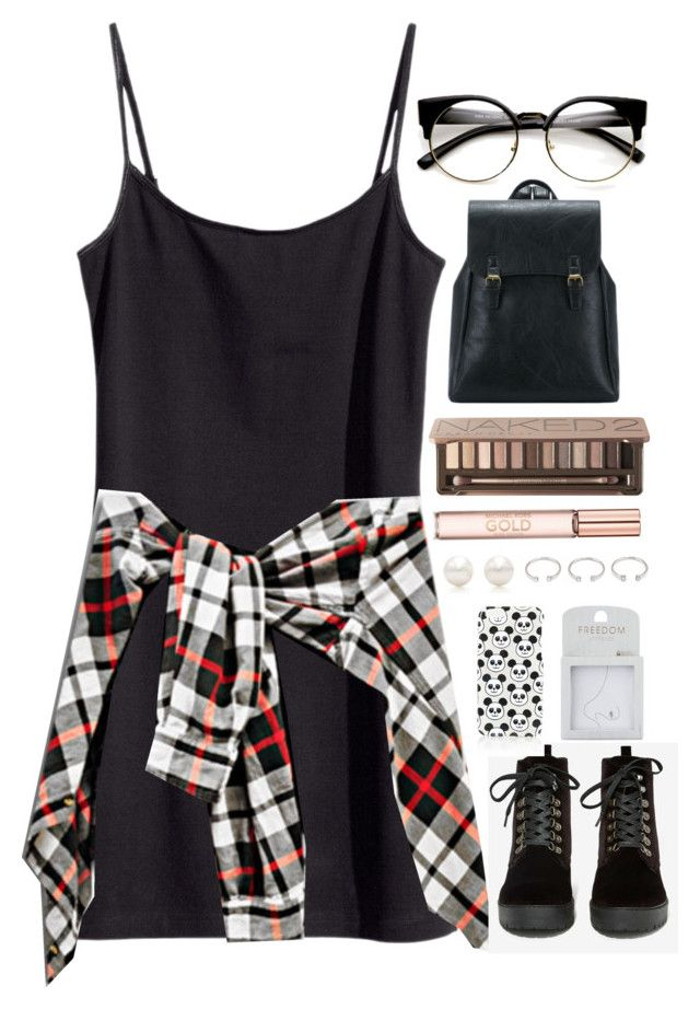 """""""young grunge"""" by tan-ara ❤ liked on Polyvore featuring H&M, T.U.K., Topshop, Urban Decay, Tiffany & Co. and Forever 21"""