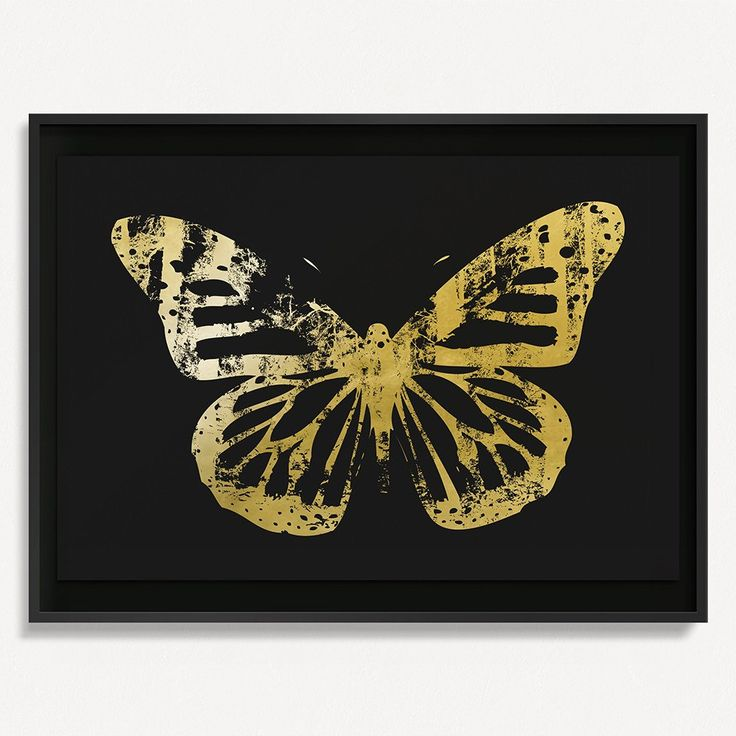 """Butterfly with Forest Wings 3 - Gold on Black - 36"""" H x 48"""" W Floated and Dry Mounted - Gold Leaf Foil on Fine Art Paper  Black - Wood Ash Frame #artsquaredinc #art #design #gold #goldleaf #artandnature #ButterflyForest #butterflyart"""