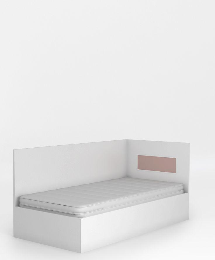 Łóżko 95 z oparciem o wymiarach: powierzchnia spania to 90 x 200 cm, podnoszony stelaż na jedną stronę i schowek na pościel, stelaż z regulowaną twardością, wysoki bok posłuży jako oparcie, boki łóżka wykonane z płyty laminowanej, szczyty z płyty MDF lub laminowanej.   Na wizualizacji przedstawiamy łóżko z oparciem LEWE.