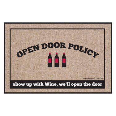 High Cotton Open Door Policy Wine Indoor / Outdoor Doormat