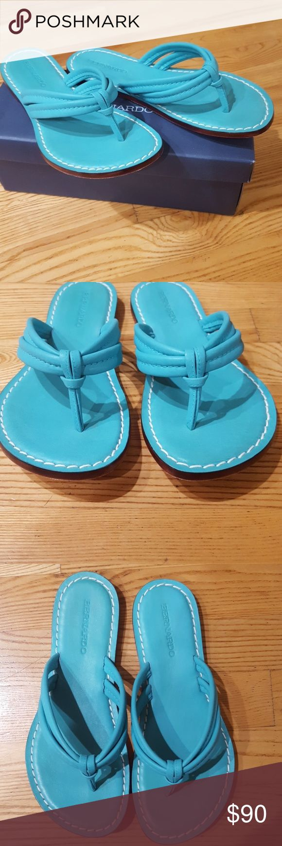 NIB Bernardo Miami soft leather flip flops 8.5 NIB Bernardo super soft leather flip flop sandals size 8.5! These are so cute, and the perfect  turquoise color! Brand new in the box, never been worn. Bernardo Shoes Sandals