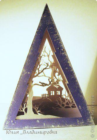 Мастер-класс Поделка изделие Новый год Бумажный туннель Вырезание Туннель- ёлочка Бумага фото 2