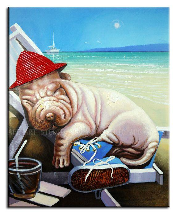 SharPei dog enjoy the sunshine oil paintingpet dog by ApeArtStudio