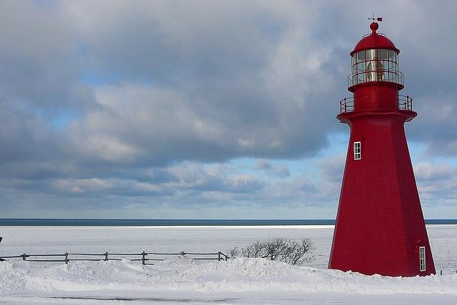 Phare de la Martre Lighthouse, Gaspesie, Canada.