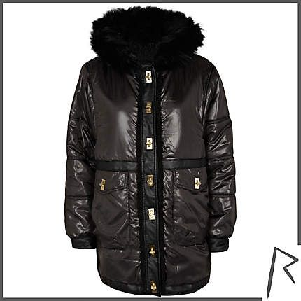 #RihannaforRiverIsland Black Rihanna high shine parka jacket. #RIHpintowin click here for more details >  http://www.pinterest.com/pin/115334440431063974/