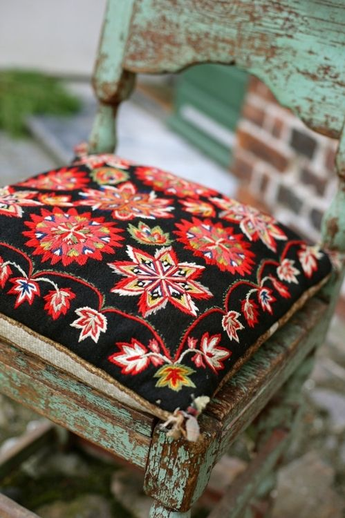 ⋴⍕ Boho Decor Bliss ⍕⋼ bright gypsy color & hippie bohemian mixed pattern home decorating ideas - covered stool