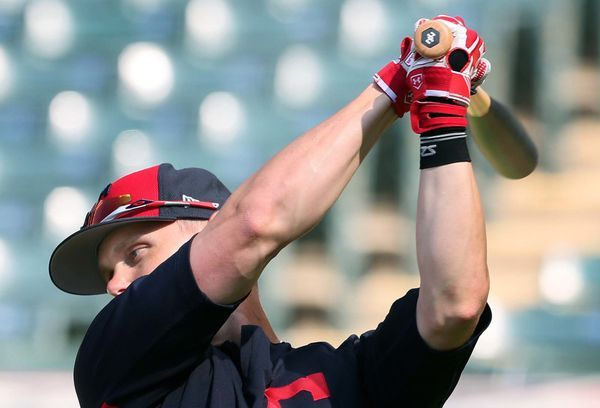 Cleveland Indians Brandon Guyer, during batting practice before the game against the Texas Rangers at Progressive Field, Cleveland, Ohio, on June 26, 2017. Guyer was activated today and is in the line up against the Rangers. (Chuck Crow/The Plain Dealer).