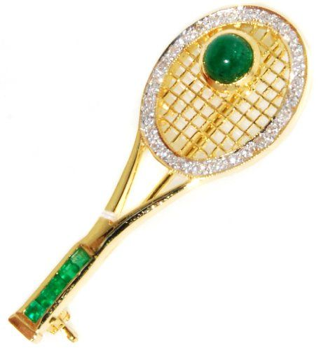 Diamond Emerald Racket Brooch/Pin Gemstone 18K Yellow Gol... https://www.amazon.com/dp/B00CHRALYE/ref=cm_sw_r_pi_dp_cR4HxbG2W705G